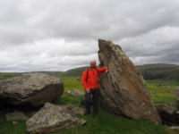 Next to one of the boulders