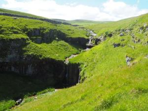 Looking down at the waterfall in Cote Gill