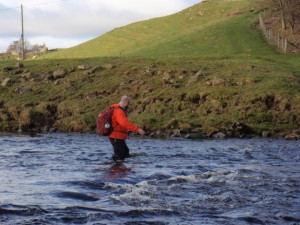 Making my way across the River Swale at Abbey Ford