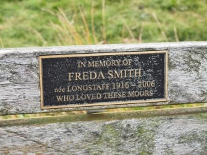 The memorial plaque on the bench near Crag Top
