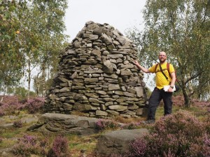 By the large cairn on Farnhill Moor