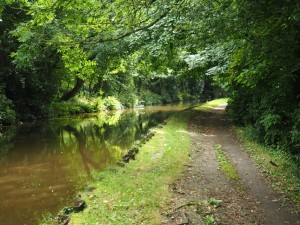 Following the tow path alongside the Leeds-Liverpool Canal