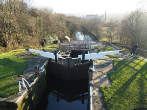 The view back down the Five Rise Locks