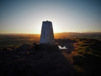 The Sharpah trig point, the highest point on Flasby Fell