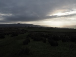 A rare burst of sunlight over Airedale to the south of us