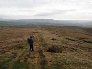 Paul looking back over the gently sloping moorland of Skyrakes
