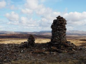 A pair of cairns near the top of the Pennine Way on Fountains Fell