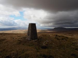 The Yorkshire Three Peaks from the Knowe Fell trig point