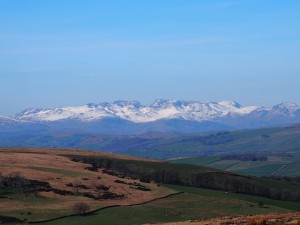 A close up of the Scafells from Firbank Fell