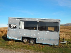 An abandoned mobile office on Firbank Fell