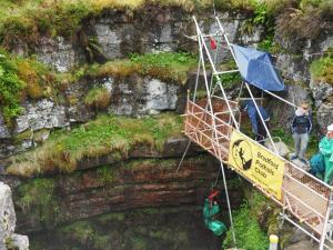 Watching someone else being winched down into Gaping Gill