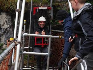 Tony ready to be winched down