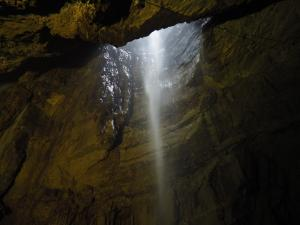 Another view of the waterfall and entrance to Gaping Gill