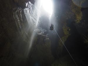 Tony being winched back up out of Gaping Gill