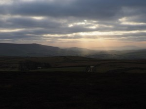 Sunbeams over Cracoe and Flasby Fell