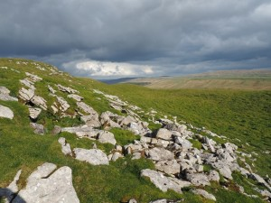 Limestone outcrops below the summit of Wold Fell