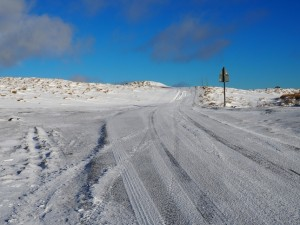 The snow covered road at Hunters Sleets