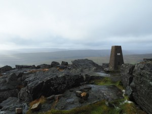 The trig point on Great Whernside