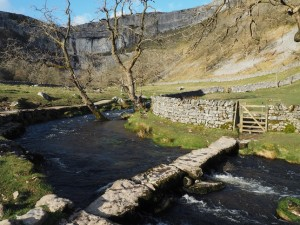 The slab bridge over Malham Beck