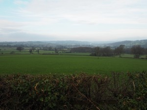A murky view up Nidderdale from the top of Myer Green Lane