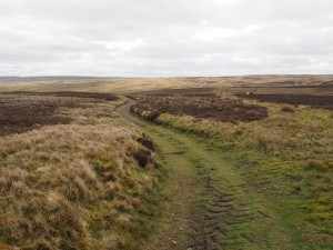 The bridleway contouring round on to Fleensop Moor
