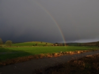 A rainbow above the River Aire