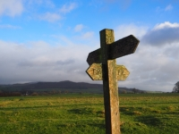 The Pennine Way sign between Scaleber Hill and Mickleber Hill