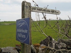 Signpost to Hebblethwaite Hall from the A683