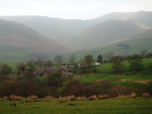 Hebblethwaite Hall backed by the Howgill Fells