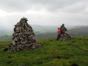 Enjoying the view from the twin cairns
