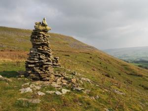 The highest cairn looking towards High Clint