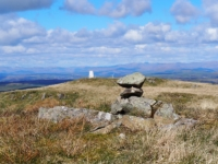 The small pile of stones marking the highest point on Barbon Low Fell