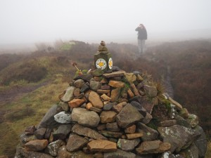 Lisa looking for the cairn on Windgate Nick