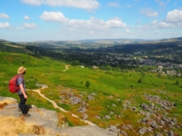 Enjoying the splendid view from Ilkley Crags