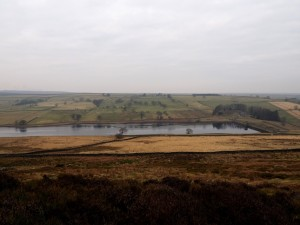 Looking back down on Roundhill Reservoir