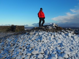 On the summit cairn