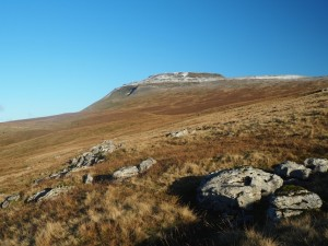 Looking back up at Ingleborough