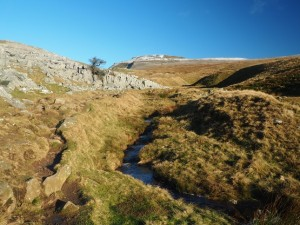 Looking back up at Ingleborough from just above Crina Bottom