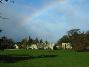 A faint rainbow over Jervaulx Abbey