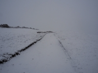 Near whiteout conditions as the bridleway passes below Green Haw Hill