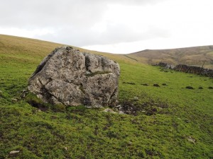 The larger boulder where we left the track above Bordley