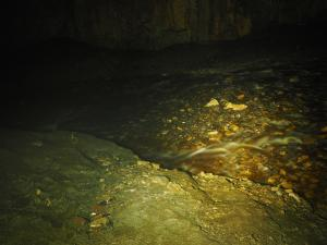 The water flowing through Yordas Cave