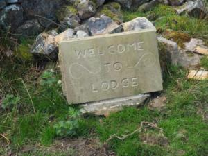 A new sign announcing arrival at the abandoned hamlet of Hodge