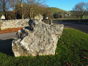 A carved boulder near Malham's Dales Visitor Centre