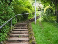 The steps leading up into Masham from the car park