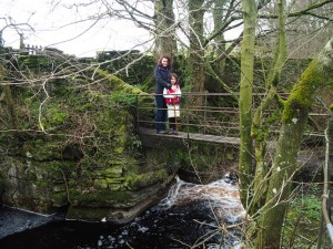 Lisa and Rhiannon crossing the footbridge at the bottom of Mill Gill