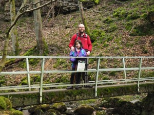 With Rhiannon on the footbridge crossing Whitfield Gill