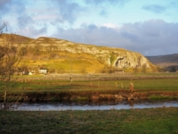 Early morning sunshine on Kilnsey Crag