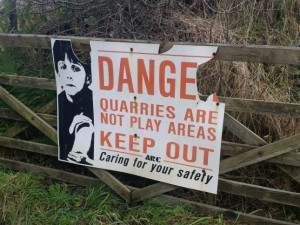 Although on access land danger signs discourage visitors to Helwith Bridge Quarry