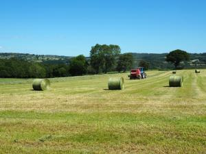 Making bales of hay